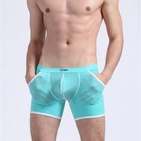 NEW Male Panties Translucent Soft Male One Piece Bag Viscose Long Boxer Pouch Men Underwear Sports