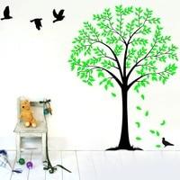 Große Familie Dschungel Baum Vogel Wandtattoo wohnkultur DIY vinylkunst-wand Kinder Schlafzimmer Kindergarten Wandaufkleber Vinilos Parede
