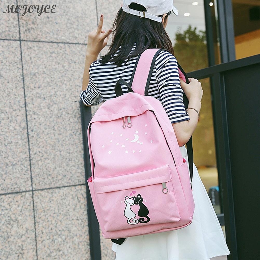 4pcs Lovely Cute Cat Printed Backpack Unisex Canvas Casual Backpack Girls Preppy Chic School Bag Female Pink Travel Rucksack Set