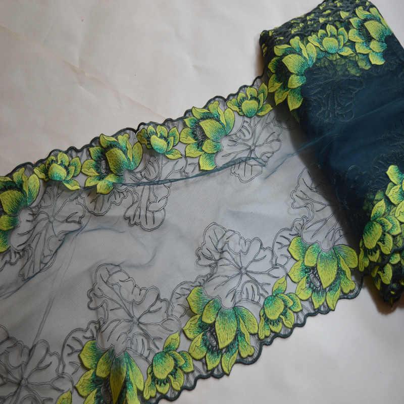 1YD kırmızı ~ yeşil ~ sarı ~ gül-carmine ayna çiçek Nakış Yüksek kaliteli dantel kumaşlar işlemeli dantel trim171111