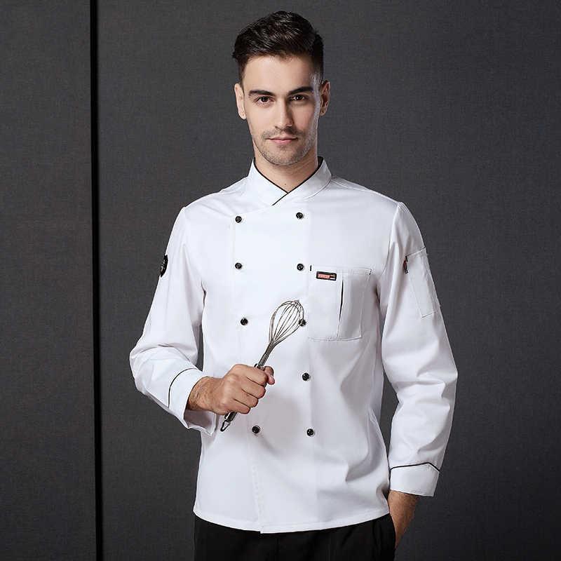 זכר שף אחיד ארוך שרוול לבשל עבודה אחידה ללבוש Plu גודל שף מעיל מלצר אחיד סיני מטבח מסעדה ללבוש D-0681