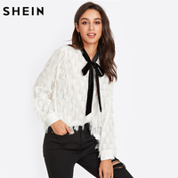 SHEIN Contrast Tied Neck Allover Fringe Cute Top White Womens Tops and Blouses Autumn Long Sleeve Elegant Blouse