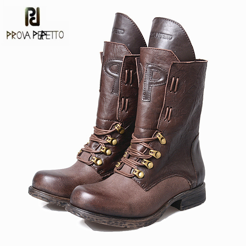 Prova Perfetto New Design Women Ankle Boots Black Genuine Leather Lace Up Platform Rubber Boots 2017 Autumn Winter Flat Botas 2017 new autumn winter shoes for women ankle boots genuine leather boots women martin boots lace up platform combat boots botas