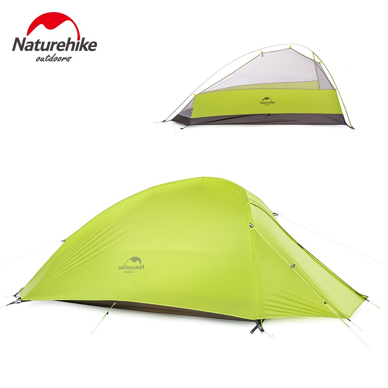 Naturehike 3 Person Large Camping Tent Outdoor Ultralight Family Camp Tents 20D Nylon Silicone Tente Gray Green Orange 995g camping inner tent ultralight 3 4 person outdoor 20d nylon sides silicon coating rodless pyramid large tent campin 3 season