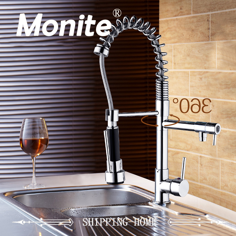 Super Quality Pull Out Kitchen Tap And Chrome Finished Spring Kitchen Faucet Swivel Spout Vessel Sink Mixer Basign Faucet new brush nickel and chrome finished pull out spring kitchen faucet swivel spout vessel sink mixer tap pull down kitchen faucet
