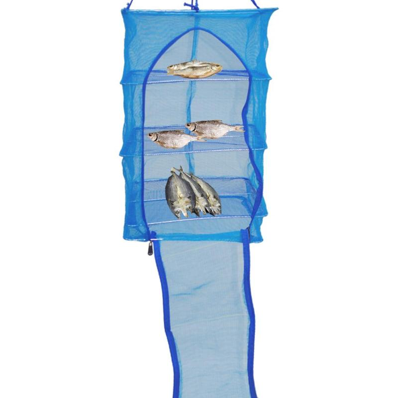 4 Layers Fishing Hanging Net Folding Fishing Gadgets Fish Net Vegetable Dishes Drying Rack 68x35x35cm