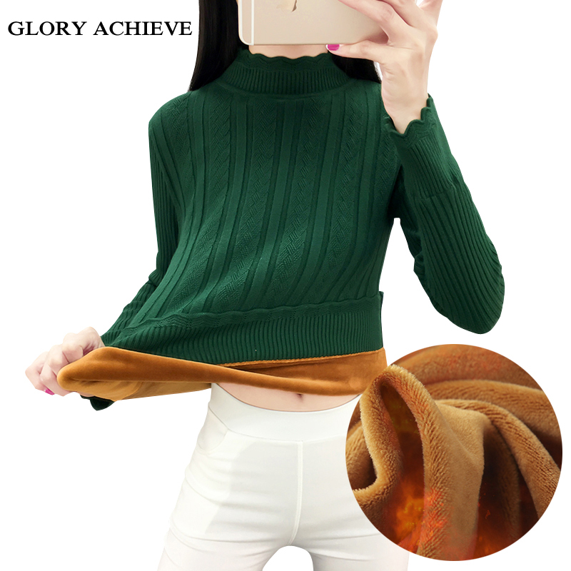 Velvet thicking Women Pullover Sweaters Irregular Turtleneck Warm Knitted Sweaters All match Slim sweaters fashion 2018