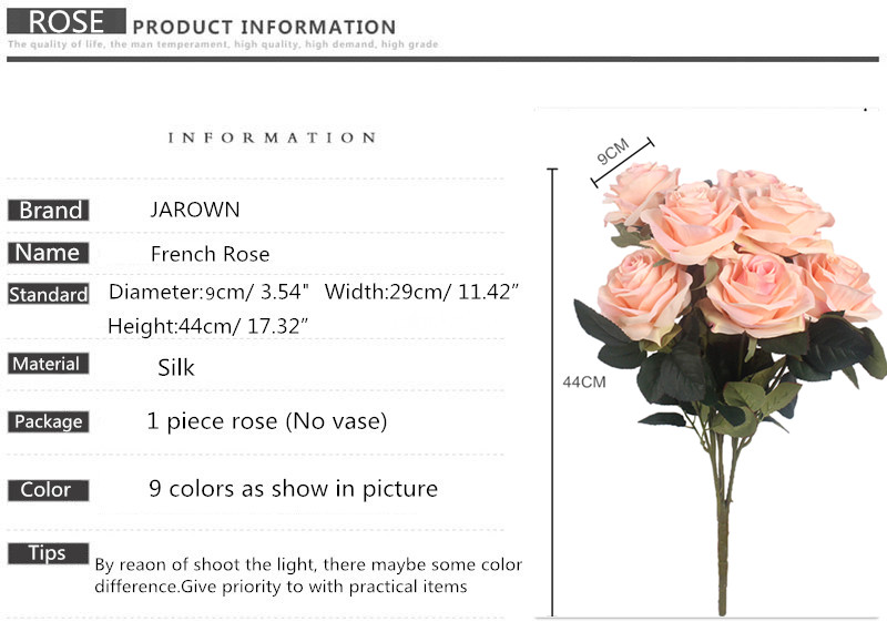Artificial Silk 1 Bunch French Rose Artificial Flower For Wedding And Party Accessory 13