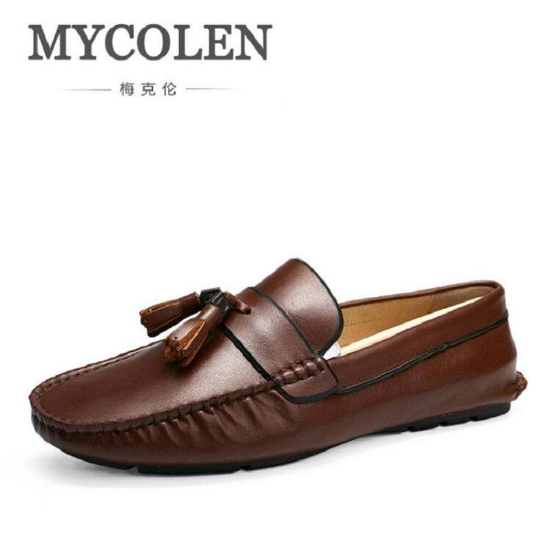 MYCOLEN Business Casual Shoes Men Wedding Party Flats Shoes Genuine Leather Mens Moccasins Formal Office Shoes With Tassels hot sale mens italian style flat shoes genuine leather handmade men casual flats top quality oxford shoes men leather shoes