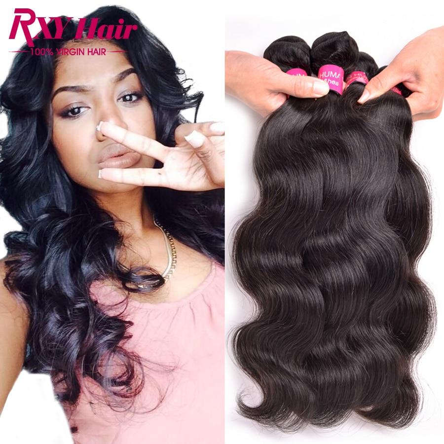 [ Rxy Hair ] Indian Virgin Hair 4 Bundle Deals Indian Body Wave 8A Grade Virgin Raw Indian Hair 10''-28''Inch