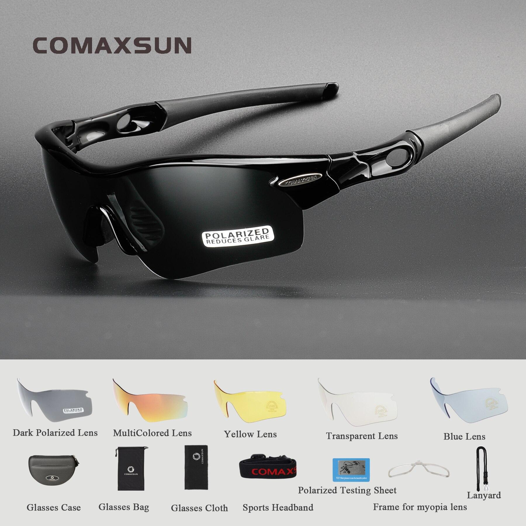 537bcf26ff COMAXSUN profesional polarizado gafas ciclismo bicicleta gafas pesca  deportes al aire libre gafas de sol UV 400 5 lente 5 Color
