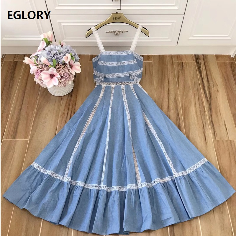 High Quality Designer Spring Summer Party Strap Dress 2018 Women Hollow Out Lace Patchwork Large Swing Cotton Denim Dress Jeans lace patchwork denim jeans