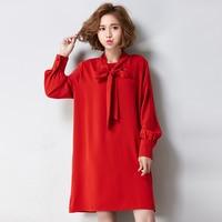 Panie Ponadgabarytowych Szyfonowa Sukienka 2017 Nowa Jesienna Kobiety Odzież Z Długim Rękawem Czerwona Szyfonowa Sukienki Plus Size Vestidos