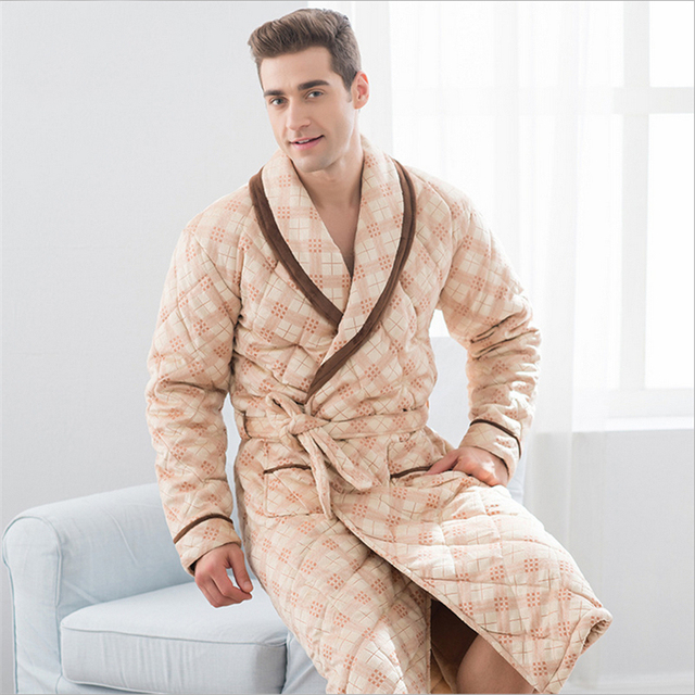 Beibei velvet men pajamas Cotton clothing Nightgown Large size Loose Home service Luxury and noble Cardigan Bathrobes