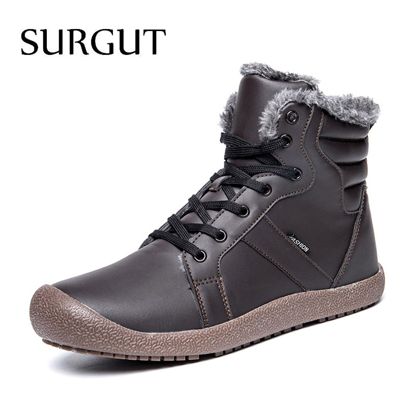 SURGUT Men Winter Boots Male Snow Ankle Waterproof Warm Fur pu Leather Casual Boot Shoes Chaussure Homme Plus Size 36~48