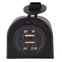 Wasserdicht 12 V 24 V Auto Dual USB Ladegerät Port 5 V 3.1A Adapter Buchse Mit Halter Rahmen Motorrad RV boot Refit Zubehör