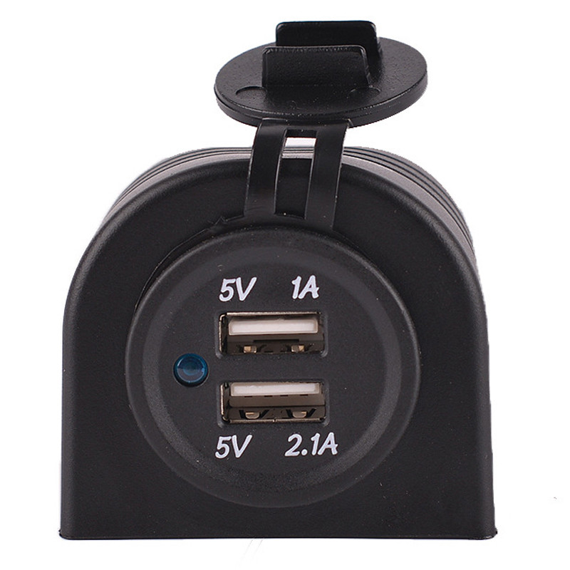 Waterproof 12V 24V Car Dual USB Charger Port 5V 3.1A Adapter Socket With Holder Frame Motorcycle RV Boat Refit Accessory