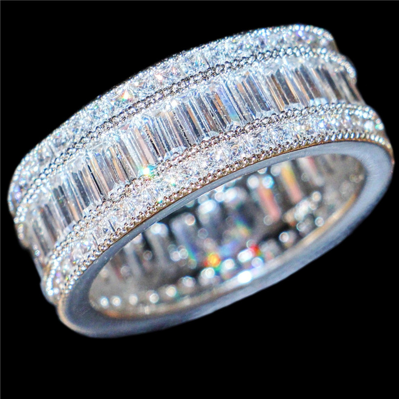 Choucong Jewelry Luxurious 10KT White Gold Filled Square Pave Setting Full Zircon CZ Stone Cocktail Wedding Band Rings For Women