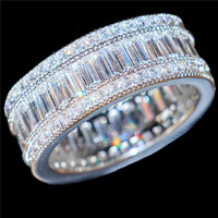 Choucong Jewelry Luxurious 10KT White Gold Filled Square Pave Setting Full Zircon CZ Stone Cocktail Wedding