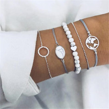 5pcs/set Vintage White Stone Map Round Beads Bracelet Set for Women New 2019 Fashion Geometric Chain Rope Jewelry Party