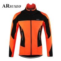 ARSUXEO Men's Thermal Cycling Jacket Winter Warm Up Bicycle Clothing Windbreaker Waterproof Sports Coat MTB Bike Road Jersey