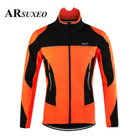 ARSUXEO Men's Thermal Cycling Jacket Winter Warm Up Bicycle Clothing Windbreaker Waterproof Sports Coat MTB Bike Road Jersey