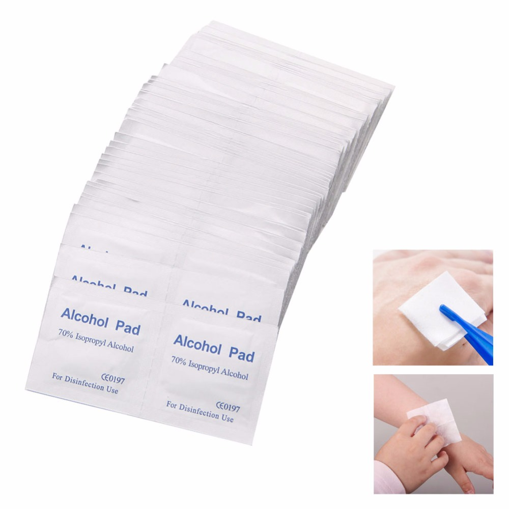 New 100 Pcs/Box Alcohol Wipe Pad Medical Swab Sachet Antibacterial Tool Cleanser