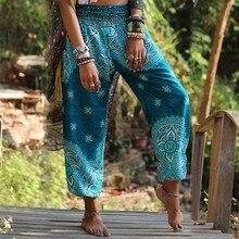 Boho Festival hippie Harem Trousers Vintage Women Casual Pants 2019 Summer Smock High Waist Trousers plus size 3XL pantalon