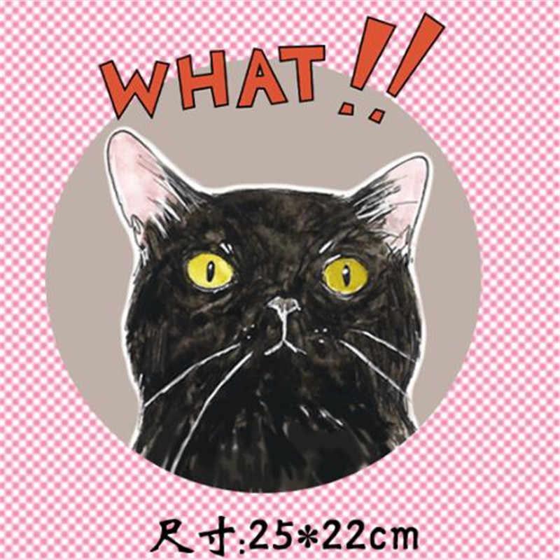 Camiseta mulheres gato surpreendido pvc patch para roupas de impressão de transferência de calor de ferro em transferência de patches para vestuário menina 3D adesivos