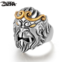 ZABRA Solid 925 Silver Rings Men Animal Monkey King Adjustable Vintage Punk Rock Biker Male Ring Silver Sterling Silver Jewelry