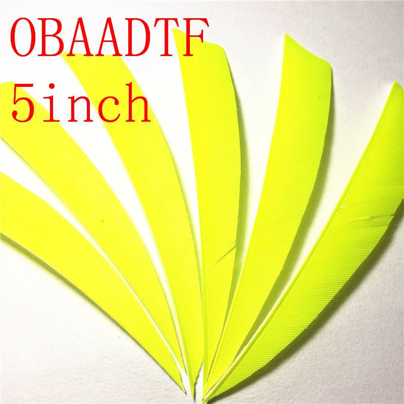 200pcs 5 inch Real Feather Fluorescent Yellow Shield Cut Arrow Bow Turkey Feather Outdoors Archery High