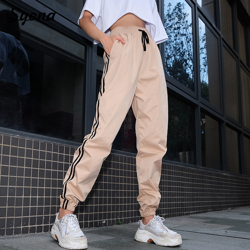Women Side Stripe Street Track   Pants     Capris   Baggy Joggers Trousers Strechy Elastic Ankle Sweatpants High Waisted Harem Khaki
