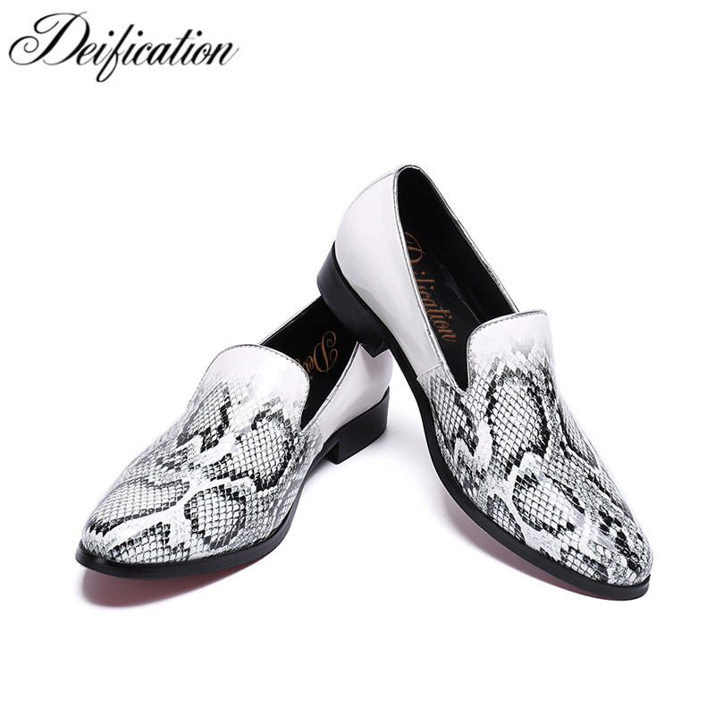 Deification Handmade Italian Style Men Loafers Snake Print Luxury Party Wedding Shoes Slip-On Men's Flats Plus Big Size 38-47