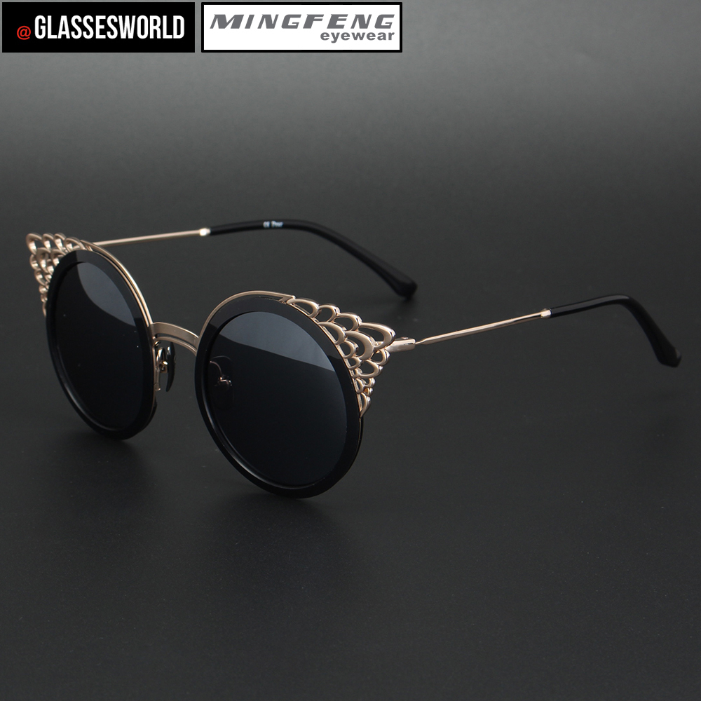 Black cat eye fashion sunglasses with high quality round retro sun glasses