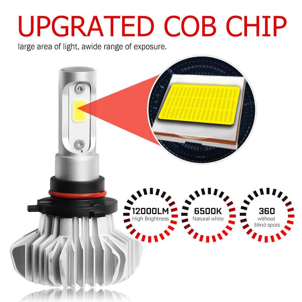 BraveWay COB Chip LED H4 H7 9005 HB3 9006 HB4 H11 H8 H1 Bulb Car 12000LM 6500K 12V for Motorcycle Auto Headlight