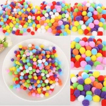 Piękny 100-500 sztuk 10/15/20/25/30mm Mini puszysty Pompom mieszane kolor miękkie Pom kulki pompony na ślub dekoracja domu DIY zabawki rzemiosła