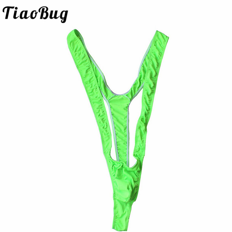 TiaoBug Bright Fluoro Sexy Men Mankini Thong Stretch Open Deep V-Neck Borat Men Beach Swimwear Swimsuit Hot Men Lingerie