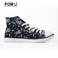 FORUDESIGNS High Top Women Canvas Shoes Woman Ladies Lace-up Vulcanized Flats Shoes Cute Bear Nurse Pattern Women's Sneakers