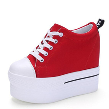 Wedges Canvas Shoes Woman Platform Vulcanized Shoes Hidden Heel Height Increasing Casual Shoes female chaussure femme Size US 8
