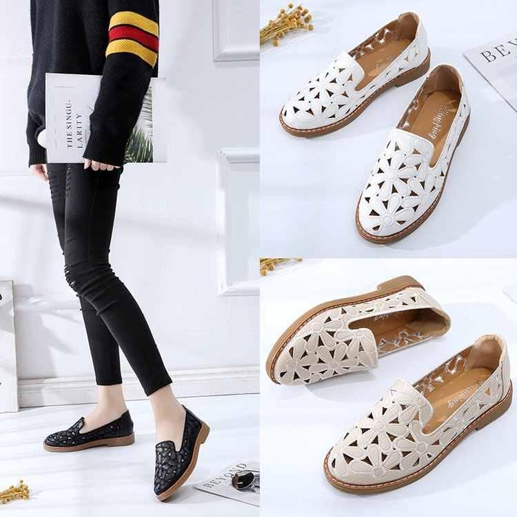 2019 senhoras de couro apartamentos tênis sapatos casuais sapatos femininos mocassins oco branco rendas até sapatos de lona barco
