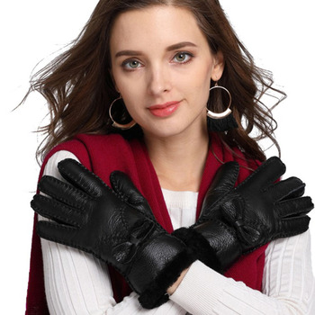 High Quality women warm fur gloves women's winter cold-proof thermal genuine leather gloves Ladies Gloves Mittens Hand-made low temperature of liquid nitrogen gloves gloves cold freezing ice lng leather gloves