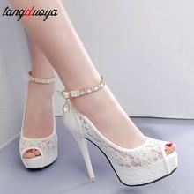 Lace Wedding Shoes Woman Peep Toe High Heels Women