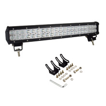 Auxtings LED 20inch 126w 12V LED Light Bar License Plate Bracket Bull Bar IP67 Combo Beam Straight Car Offroad 4×4 for Jeep ATV