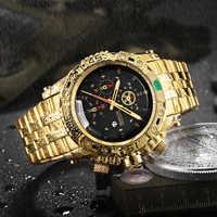 2019 ธุรกิจใหม่นาฬิกาข้อมือนาฬิกาผู้ชายแฟชั่นกันน้ำ Casual ทองกีฬานาฬิกาผู้ชายสแตนเลสนาฬิกาข้อมือควอตซ์นาฬิกา