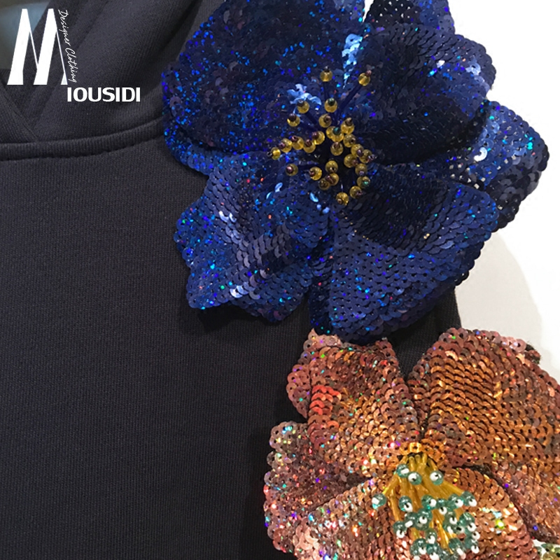 Новинка; сезон весна; 18; Асимметричный свободный свитер с вышивкой из бисера без бретелек; толстовка с капюшоном и цветами - 4