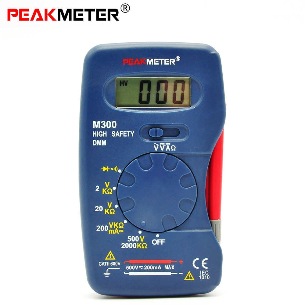 PEAKMETER M300 Digital Multimeter Handheld 2000 Counts AC / DC Voltage DC Current Resistance Frequency Diode Test and Continuity цена