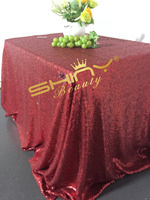 ShinyBeauty 225x330cm Square Iridescent Matte Red Sequin Tablecloth Luxurious Tablecloth Dining Table Cover For Wedding Party