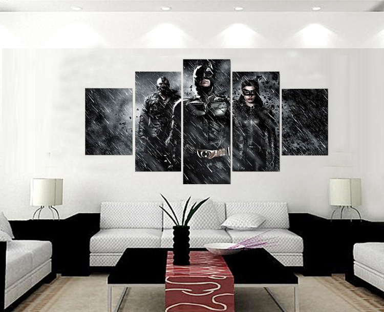 Free Shipping 5 Panels Oil Painting Batman Movie Poster Canvas Painting For Living  Room Wall Art Picture HD Prints No Frame In Painting U0026 Calligraphy From ... Part 50