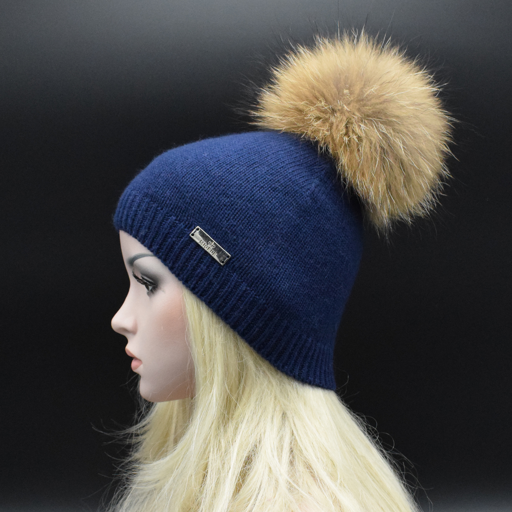 2017 Winter luxury natural Raccoon fur pompoms Knitted caps For women High quality wool Fur Beanie