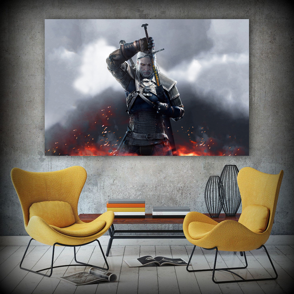WANGART the Witcher 3 Canvas Art Print Poster Painting Hunting Wild Game Cirilla Geralt large Wall Picture for Living Room jy681